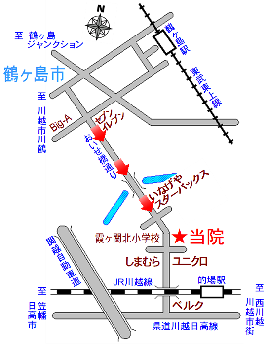 大蔵カイロ川越伊勢原整体院の道案内図1