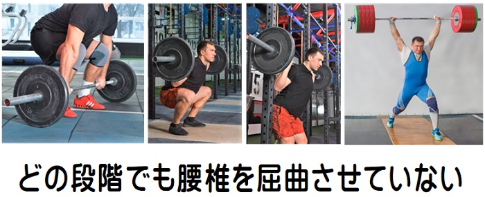 腰痛 重量挙げの選手は腰椎を屈曲させない