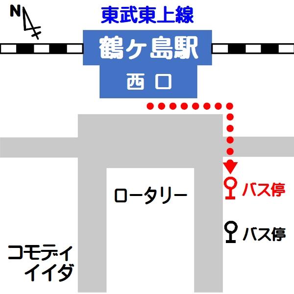 鶴ヶ島駅西口ロータリーの地図